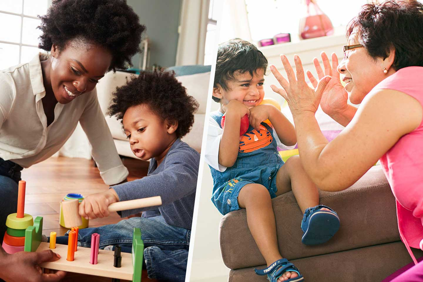 parent and toddler playing and communicating using kind words